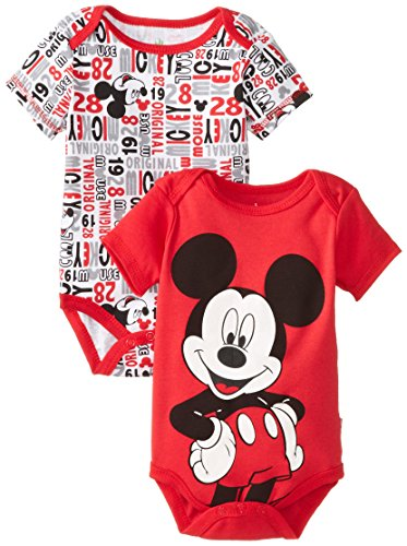 Disney Baby Boys Newborn Mickey Mouse 2 Pack Bodysuit, Red, 6-9 Months front-320609