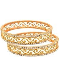 JFL - Traditional Ethnic Fusion One Gram Gold Plated White Austrian Diamond Designer Bangle Set For Women & Girls