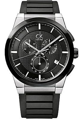 Calvin Klein Men's Black Dial Black Rubber