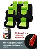 FH-FB050115 Flat Cloth Car Seat Covers Green / Black Color