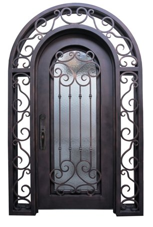 WI-52B Pre-hung wrought iron security entry doors with multi locking system