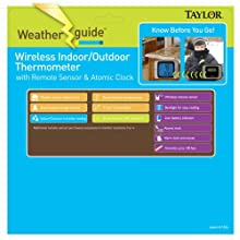 Taylor 1526 Wireless Indoor/Outdoor Thermometer With Hygrometer & Atomic Clock