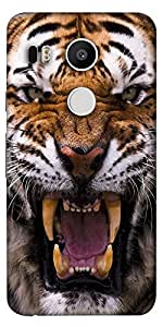 Snoogg Angey Tiger Designer Protective Back Case Cover For Lg Google Nexus 5X