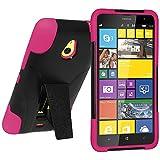 Amzer Coque hybride Double couche avec b�quille pour Nokia Lumia 1320 Noir/rose vif