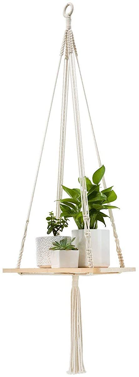 "TYLife Macrame Plant Hanger Shelf Hanging Home Decor 45 inches,45"" H, 12""×0.5"""