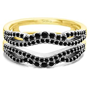 Black Cubic Zirconia Double Infinity Wedding Ring Guard Enhancer in 10k Two Tone Gold (0.49 CTS Black Cubic Zirconia)