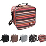 KOSOX® Oxford Square Insulated Lunch Tote Bag Picnic Cooler Bag With Shoulder Strap - Unisex Lunch Bag For Adults, Kids, Women, Men, Teens (Stripe)