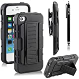 RANZ® Apple iPhone 4 / 4S Black Rugged Impact Armor Hybrid Kickstand Cover with Belt Clip Holster Case + Touch Stylus