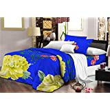 Nine Living Polar Fleece Bedsheet Cum Comforter With Pillow Cover- Blue (Set Of 3)