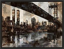 34in x 26in Manhattan Skyline by Marti Bofarull - Black Floater Framed Canvas w/ BRUSHSTROKES