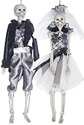Halloween Skeletons Decoration Scary Bride and Groom Set 16 Inches