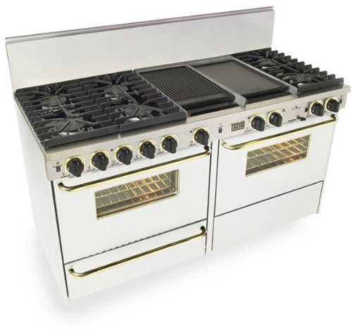 """60"""" Pro-Style Dual-Fuel Natural Gas Range with 6 Sealed Ultra High-Low Burners Two 3.69 cu. ft. Convection Oven Self-Clean and 2 Double Sided Griddle/Grill White with Brass"""