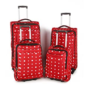 The Worlds lightest luggage with 4 spinner wheels - Suitable for flights - Not a shopping trolley marketed as luggage! (Large, Polkadot Red)