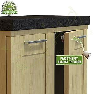 8 locks 2 keys premium magnetic cabinet drawer safety locks for home baby. Black Bedroom Furniture Sets. Home Design Ideas