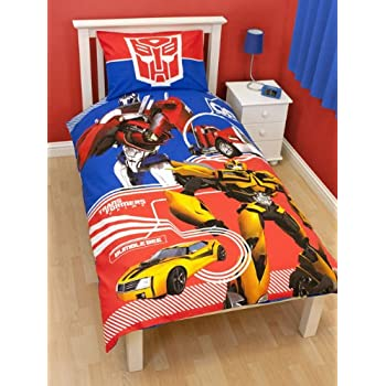 pas cher parure housse de couette linge de maison transformers autobots lit 1 personne. Black Bedroom Furniture Sets. Home Design Ideas