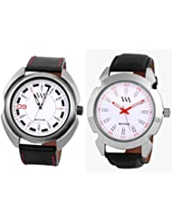 Watch Me WHITE Combo Set Of 2 Analogue Watches Gift For MEN WMAL-059-077W