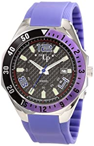 Lucien Piccard Men's LP2109BU Maranello Black Carbon Fiber Dial Purple Rubber Watch