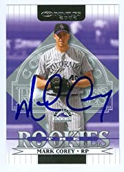 Mark Corey autographed Baseball Card (Colorado Rockies) 2002 Donruss The Rookies #99