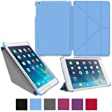 roocase iPad Mini Case - Slim Shell Origami Folio Case Smart Cover for Apple iPad Mini 3 (2014) Mini 2 Retina Display (2013) Mini 1 (2012 Edition), BLUE - Auto Sleep/Wake Feature