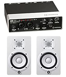Steinberg UR22MKII 2-Channel USB Interface with 2 Yamaha HS5 Studio Monitors (White)