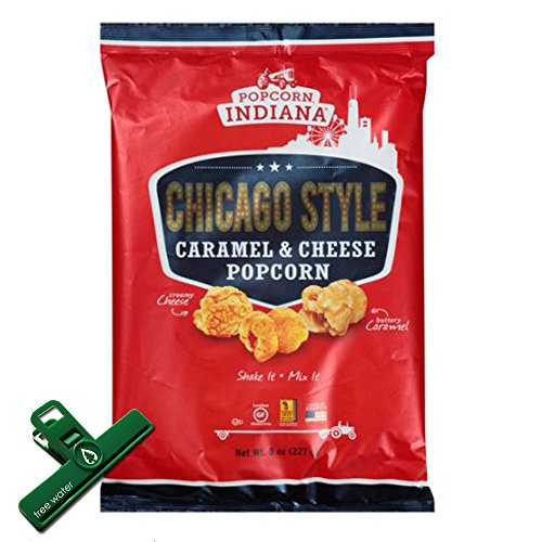 Popcorn Indiana Chicago Style Carmel & Cheese Popcorn, 8 Oz, Large Size Bag, Includes Chip Bag Clip (Popcorn Indiana Popcorn Chips compare prices)