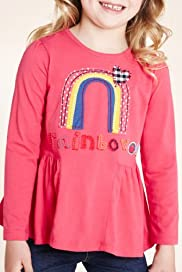 Pure Cotton Long Sleeve Rainbow Appliqué T-Shirt [T77-4885B-Z]