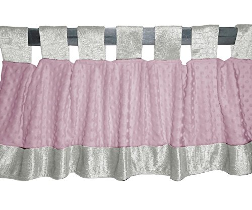 Baby Doll Croco Minky Window Valance, Ivory/Pink