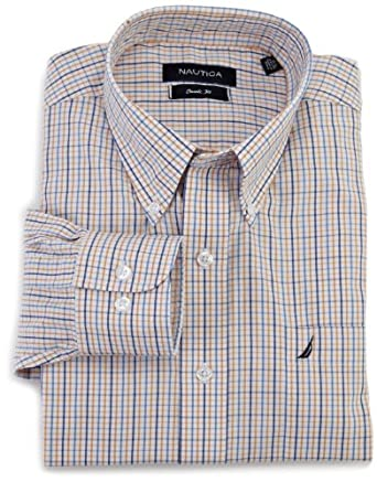 (新品)Nautica Men's Tattersol Button Down Collar 诺帝卡男士长袖衬衫 $32.74