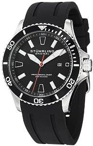 Stuhrling Original Men's 706.01 Aquadiver Regatta Diver Sport II Quartz Date Black Rubber Strap Watch