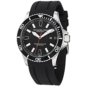 Stuhrling Original Men's 706.01 Aquadiver Regatta Diver Sport II Quartz Date Black Rubber Strap Watch $49.99