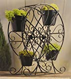 "Country Living 25"" Metal Ferris Wheel Planter w/ Bamboo Flower Pot, Black"