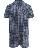 Shorts Harvey James Cotton fils teints à manches courtes hommes Pyjama rayé ou à carreaux . M - XXL