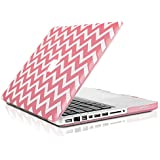 """TopCase Chevron Series Pink Ultra Slim Light Weight Rubberized Hard Case Cover for Macbook Pro 13-inch 13"""" (A1278/with or without Thunderbolt) - NOT for Retina Display - with TopCase Chevron Mouse Pad"""
