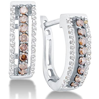 14k White Gold Channel Set Round White And Chocolate Brown Diamond U Shape Hoop Earrings 48 Cttw