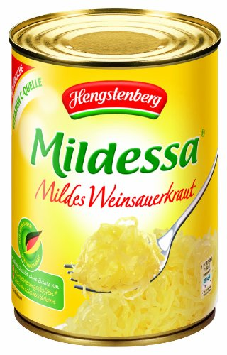 Hengstenberg Mildessa Mild German Wine Sauerkraut, 19.4-Ounce Tins (Pack of 12)