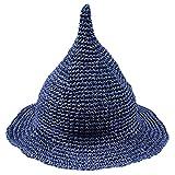 LOL2 キッズ 子供 とんがり 麦わら 帽子 ハット UV対策 日よけ カラフル (06ネイビー)