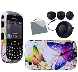 Wayzon Clip On Protection Hard Hybrid Armour Back Case Cover Skin Pouch Shell Holster Beautiful Butterfly Design + Screen Protector + Mini Portable Rechargable Speaker With 3.5mm Jack For Blackberry Curve 3G 9300 Phone