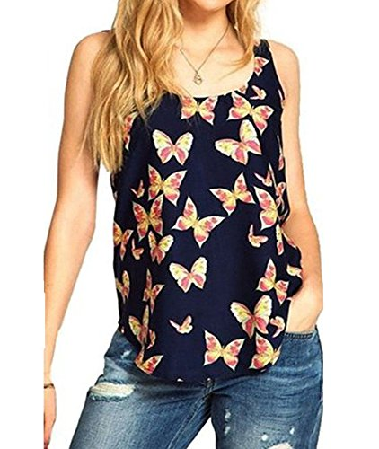 Mode Damen Weste Schmetterlings-Druck ärmellosen Chiffon Tank Tops Hemden Vest (M, Schwarz)