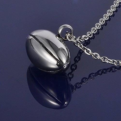 HOUSWEETY Stainless Steel Rugby Oval Waterproof football Cremation Urn Necklace Ash Memorial Jewelry