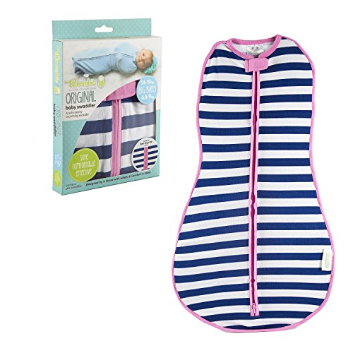 Woombie Original Baby Swaddle, Navy Stripe Girl, Big Baby 14-19 Lbs