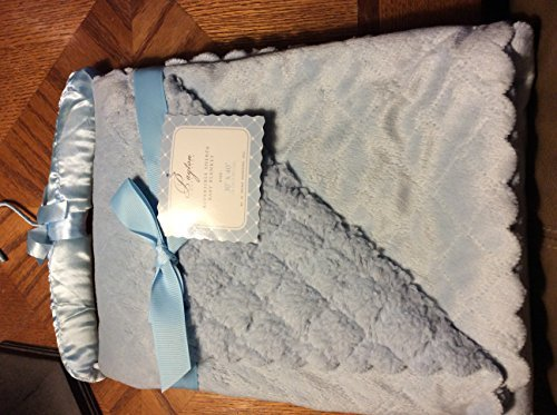 "Payton Collection Reversible Sherpa Baby Blanket ""Payton Blue"". 30x40 in Size. Super Soft Cuddly and Cozy."