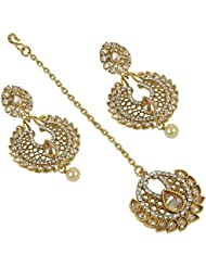 Gorgeous Bollywood Design Gold Plated Crystal Made Earring With Maang Tikka For Women Gift Jewelry