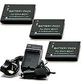 Henweit 3x Battery + 1x Charger For DMW-BCK7 PANASONIC NCA-YN101F DMW-BCK7E VW-BCK7 FH2K