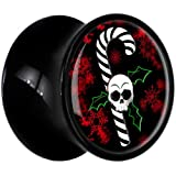 00 Gauge Black Acrylic Christmas Skull Holly Candy Cane Saddle Plug