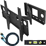 "Cheetah Mounts APSAMB 32-65"" LCD TV Wall Mount Bracket with Full Motion Swing Out Tilt & Swivel Articulating Arm for Flat Screen Flat Panel LCD LED Plasma TV and Monitor Displays Includes Free 10' Braided High Speed HDMI Cable With Ethernet"
