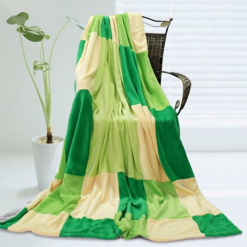 Onitiva - [Emerald Dream] Soft Coral Fleece Patchwork Throw Blanket (59 By 78.7 Inches) front-555290