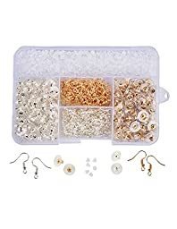 Outus 1500 Pieces 3 Styles Bullet Earring Backs Clips and 2 Styles Earring Hooks for Jewelry Making