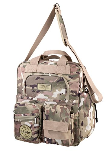 "Lillian Rose Military Camouflage Daddy Diaper Bag, Tan/Green, 14.5"" x 11.5"""