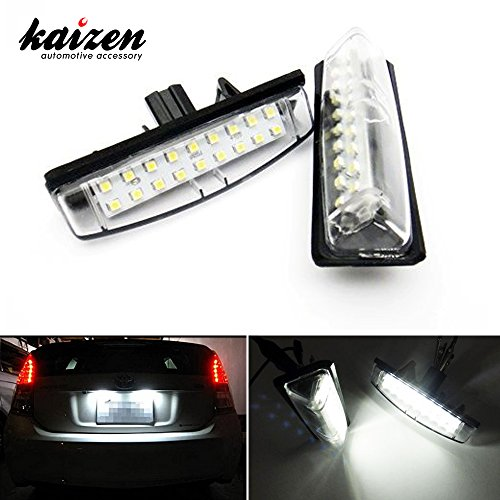 Kaizen 2 Pcs OEM Fit Super Bright LED License Plate Light Lamps 18 Pieces of Premium Quality 1210-SMD LED Chipsets In It For Lexus IS GS ES RX Toyota Prius CAN-bus Error Free Color Temperature 6000K Color Xenon White (Led Stock Ticket compare prices)