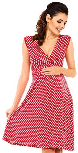 Zeta Ville - Damen - Umstands-kleid Punktemuster - Schwangerschafts Kleid - 110c (Rot mit Punkten, EU 40)